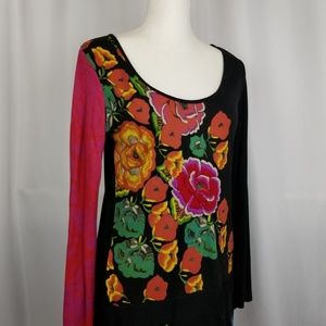Desigual Floral Embroidered Long Sleeve Tee